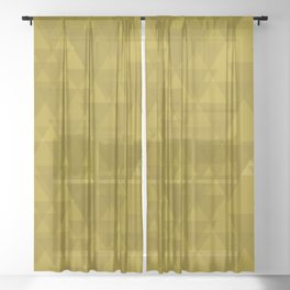 Gentle mustard triangles in the intersection and overlay. Sheer Curtain