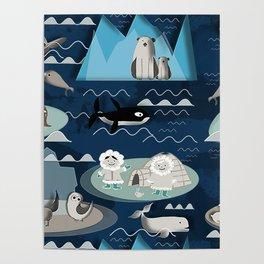 Arctic animals blue Poster