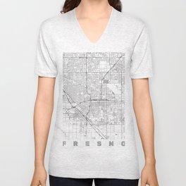 Fresno Map Line Unisex V-Neck
