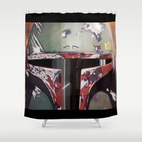 boba Shower Curtains featuring Boba Fett by Mel Hampson