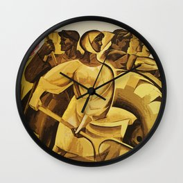 bread for us cccp sssr soviet union political propaganda revolution poster  Wall Clock