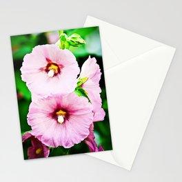 Pink Hollyhocks Cluster Stationery Cards
