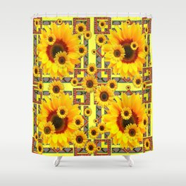 KANSAS WESTERN STYLE YELLOW SUNFLOWER FLORAL Shower Curtain