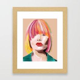 Rainbow Hair #GouachePainting #Bold Female Framed Art Print