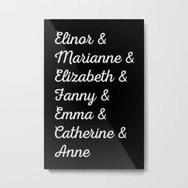 Jane Austen's Heroines II Metal Print