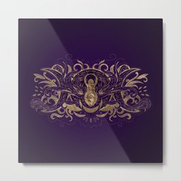 Triple Moon - Triple Goddess Purple and Gold Metal Print