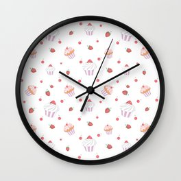 Cute lavender pink strawberries sweet cupcake pattern Wall Clock