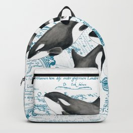 Orca Whales Family Blue Vintage Map Backpack