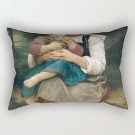 William-Adolphe Bouguereau - Breton Brother and Sister Rectangular Pillow