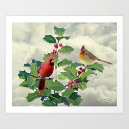 Cardinals on Tree Top Art Print