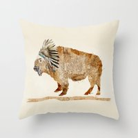 buffalo Throw Pillows featuring buffalo by bri.buckley