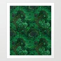 malachite Art Prints featuring malachite by ravynka