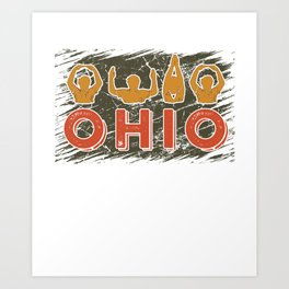 Ohio State TShirt Cute Proud To Be Ohioan Letters Root Gift Art Print
