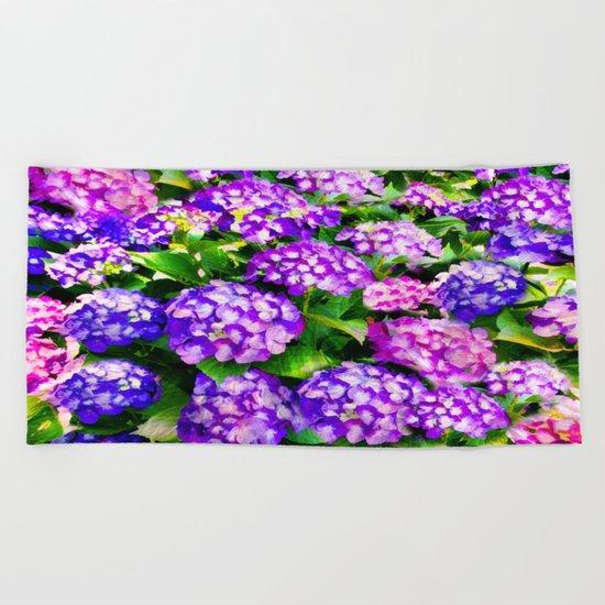 Elegant Purple & Lavender Hydrangea Beach Towel