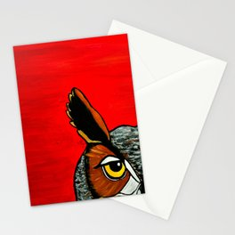 Peaking - Great Horned Owl Stationery Cards