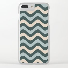 Blue Willow Green & Alpaca Wool Cream Wavy Horizontal Stripes on Night Watch Green Clear iPhone Case