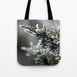 Pine Tree Covered with Snow Tote Bag