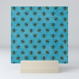 Save the bees (in blue) Mini Art Print