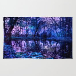 Enchanted Forest Lake Purple Blue Rug