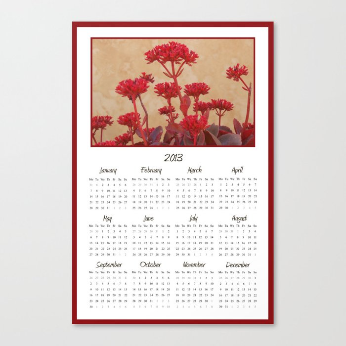 Rustic Red Flowers 2013 Calendar Canvas Print