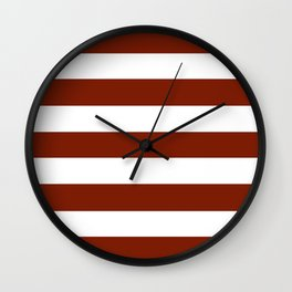 Kenyan copper - solid color - white stripes pattern Wall Clock