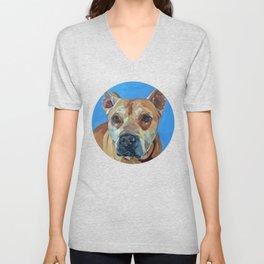 Happy the Bully Dog Portrait Unisex V-Neck