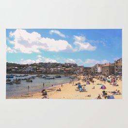 British Beach scene illustration, St Ives, English holiday resort Rug