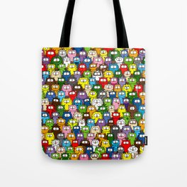 colorful crowd of owls Tote Bag