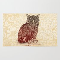 owl Area & Throw Rugs featuring Most Ornate Owl by Rachel Caldwell