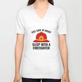 Sleep With A Firefighter Unisex V-Neck
