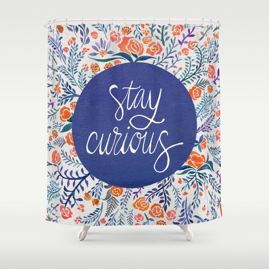 Stay Curious Navy Coral Shower Curtain By Cat Coquillette Society6