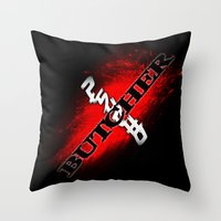 butcher billy Throw Pillows featuring Psycho Butcher by SPW Tees