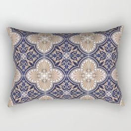 Portuguese Tiles Azulejos Blue and Brown Pattern Rectangular Pillow
