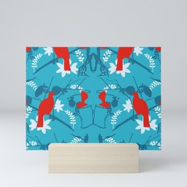NZ Native Red Kereru (Wood Pigeon) and Fantail on Blue Mini Art Print