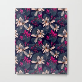 Mixed Tropical Floral in Twilight Metal Print