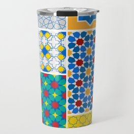 Moroccan pattern, Morocco. Patchwork mosaic with traditional folk geometric ornament. Tribal orienta Travel Mug