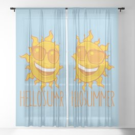 Hello Summer Sun With Sunglasses Sheer Curtain