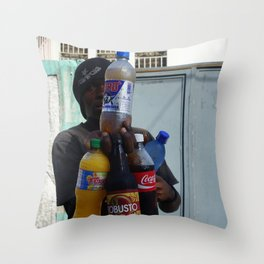 Man in Haiti Holds Stack Of Sodas Throw Pillow