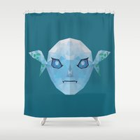 majoras mask Shower Curtains featuring Majoras Mask Zora by lowpolyfish