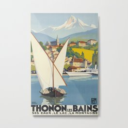 Thonton Les Bains Vintage Travel Poster Metal Print