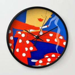 "Art Deco Illustration ""Coffee and Cigarettes"" Wall Clock"
