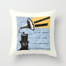 Top Hat Gramophone Throw Pillow