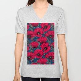 Night poppy garden  Unisex V-Neck