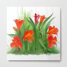 Red - orange flowers, watercolors Metal Print