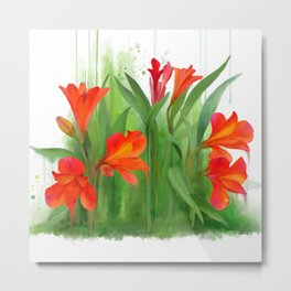 Red - orange flowers, watercolors Metal Print