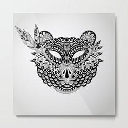 Vector american indian mask of Bear Metal Print