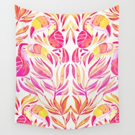 Tropical Toucans – Pink & Melon Ombré Wall Tapestry