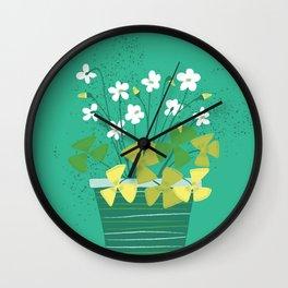 Houseplant Print No 2 (Aqua) Wall Clock