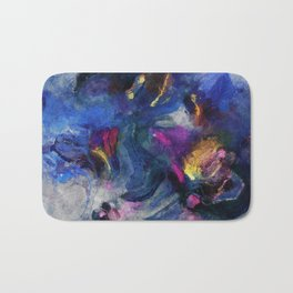 Contemporary Abstract Art in Blue and Yellow Bath Mat