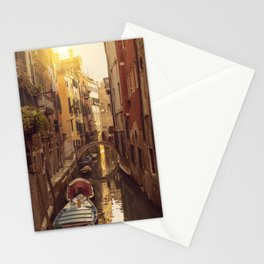 Boats in the canal in Venice with a little bridge over the water Stationery Cards